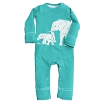 Teal Elephant Organic Cotton Romper
